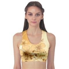Wonderful Flowers With Butterflies Sports Bra