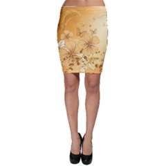 Wonderful Flowers With Butterflies Bodycon Skirts