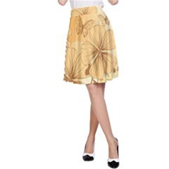 Wonderful Flowers With Butterflies A-Line Skirts