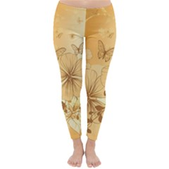 Wonderful Flowers With Butterflies Winter Leggings