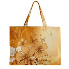 Wonderful Flowers With Butterflies Zipper Tiny Tote Bags