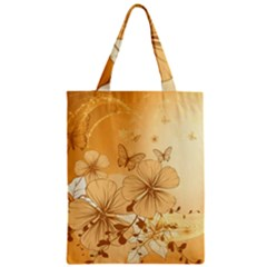 Wonderful Flowers With Butterflies Zipper Classic Tote Bags