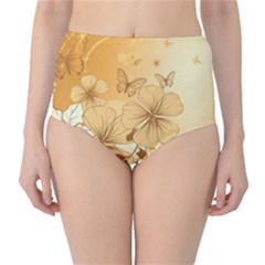 Wonderful Flowers With Butterflies High-Waist Bikini Bottoms