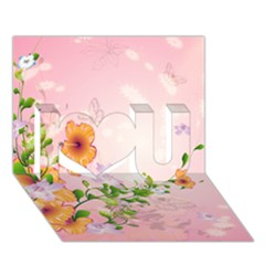 Beautiful Flowers On Soft Pink Background I Love You 3D Greeting Card (7x5)