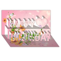 Beautiful Flowers On Soft Pink Background Happy Birthday 3D Greeting Card (8x4)