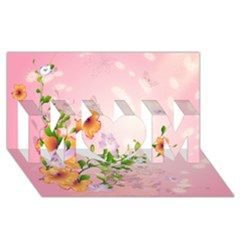 Beautiful Flowers On Soft Pink Background MOM 3D Greeting Card (8x4)