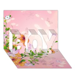 Beautiful Flowers On Soft Pink Background BOY 3D Greeting Card (7x5)