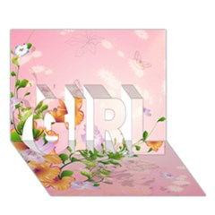Beautiful Flowers On Soft Pink Background GIRL 3D Greeting Card (7x5)