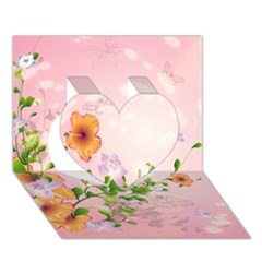 Beautiful Flowers On Soft Pink Background Heart 3d Greeting Card (7x5)