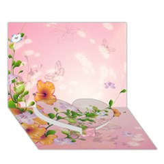 Beautiful Flowers On Soft Pink Background Heart Bottom 3D Greeting Card (7x5)
