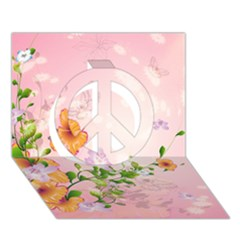 Beautiful Flowers On Soft Pink Background Peace Sign 3d Greeting Card (7x5)