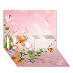 Beautiful Flowers On Soft Pink Background HOPE 3D Greeting Card (7x5)