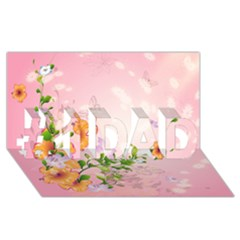 Beautiful Flowers On Soft Pink Background #1 DAD 3D Greeting Card (8x4)