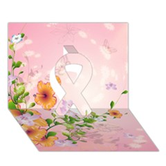 Beautiful Flowers On Soft Pink Background Ribbon 3D Greeting Card (7x5)