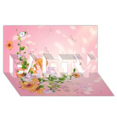Beautiful Flowers On Soft Pink Background PARTY 3D Greeting Card (8x4)