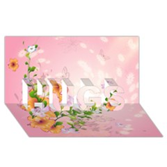 Beautiful Flowers On Soft Pink Background HUGS 3D Greeting Card (8x4)