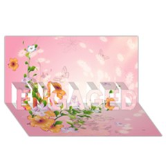 Beautiful Flowers On Soft Pink Background ENGAGED 3D Greeting Card (8x4)