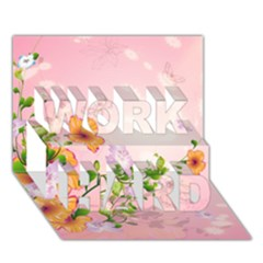 Beautiful Flowers On Soft Pink Background WORK HARD 3D Greeting Card (7x5)