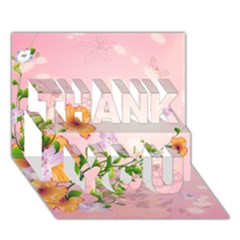 Beautiful Flowers On Soft Pink Background THANK YOU 3D Greeting Card (7x5)