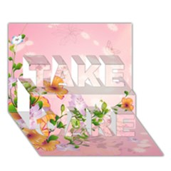 Beautiful Flowers On Soft Pink Background TAKE CARE 3D Greeting Card (7x5)