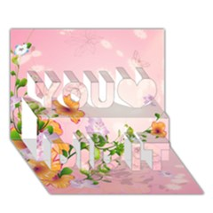 Beautiful Flowers On Soft Pink Background You Did It 3d Greeting Card (7x5)