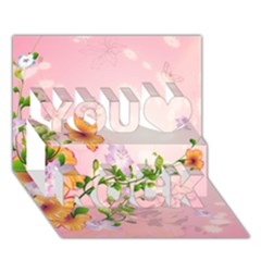 Beautiful Flowers On Soft Pink Background You Rock 3D Greeting Card (7x5)