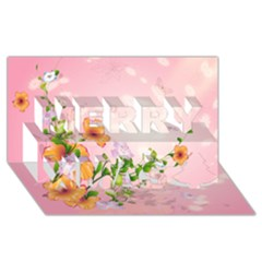 Beautiful Flowers On Soft Pink Background Merry Xmas 3D Greeting Card (8x4)