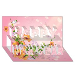 Beautiful Flowers On Soft Pink Background Happy New Year 3D Greeting Card (8x4)