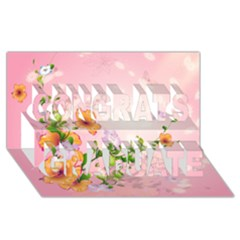 Beautiful Flowers On Soft Pink Background Congrats Graduate 3D Greeting Card (8x4)