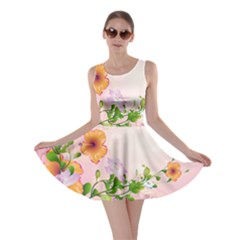 Beautiful Flowers On Soft Pink Background Skater Dresses