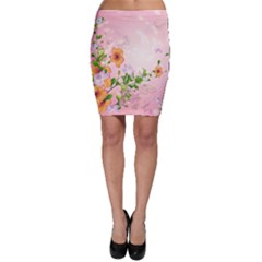 Beautiful Flowers On Soft Pink Background Bodycon Skirts