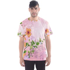 Beautiful Flowers On Soft Pink Background Men s Sport Mesh Tees