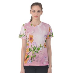 Beautiful Flowers On Soft Pink Background Women s Cotton Tees