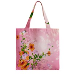 Beautiful Flowers On Soft Pink Background Grocery Tote Bags