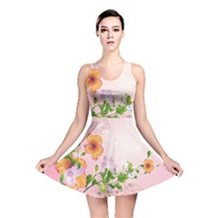 Beautiful Flowers On Soft Pink Background Reversible Skater Dresses