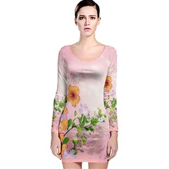 Beautiful Flowers On Soft Pink Background Long Sleeve Bodycon Dresses