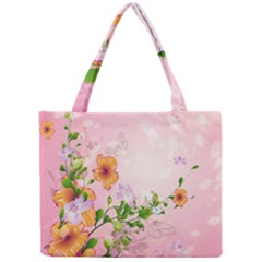 Beautiful Flowers On Soft Pink Background Tiny Tote Bags