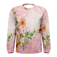 Beautiful Flowers On Soft Pink Background Men s Long Sleeve T Shirts