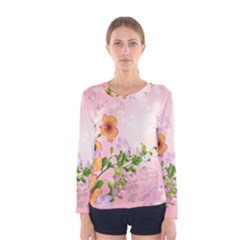 Beautiful Flowers On Soft Pink Background Women s Long Sleeve T-shirts