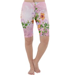 Beautiful Flowers On Soft Pink Background Cropped Leggings