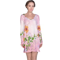 Beautiful Flowers On Soft Pink Background Long Sleeve Nightdresses