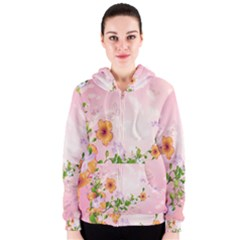 Beautiful Flowers On Soft Pink Background Women s Zipper Hoodies
