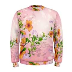 Beautiful Flowers On Soft Pink Background Men s Sweatshirts