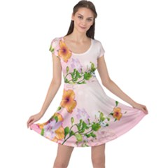 Beautiful Flowers On Soft Pink Background Cap Sleeve Dresses