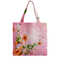 Beautiful Flowers On Soft Pink Background Zipper Grocery Tote Bags