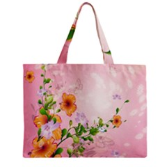 Beautiful Flowers On Soft Pink Background Zipper Tiny Tote Bags