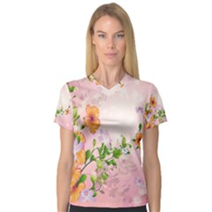 Beautiful Flowers On Soft Pink Background Women s V-Neck Sport Mesh Tee