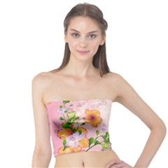 Beautiful Flowers On Soft Pink Background Women s Tube Tops