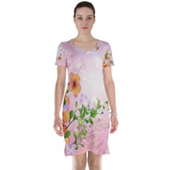 Beautiful Flowers On Soft Pink Background Short Sleeve Nightdresses