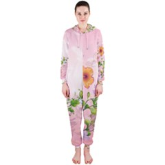 Beautiful Flowers On Soft Pink Background Hooded Jumpsuit (Ladies)